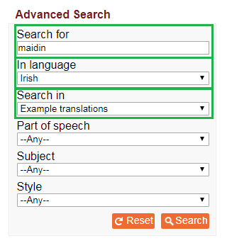 Sampla Sentence In The Irish Language Content Dictionary Put Maidin Search Box Choose IRISH And EXAMPLE